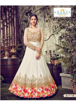 Exotic White Butterfly Net Salwar kameez