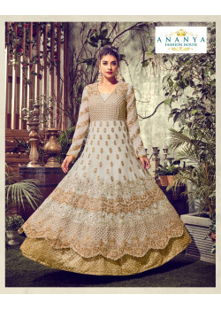 Magnificient White- Gold Tissue Silk Salwar kameez