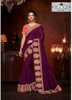 Dazzling Violet Silk Saree with Pink Blouse