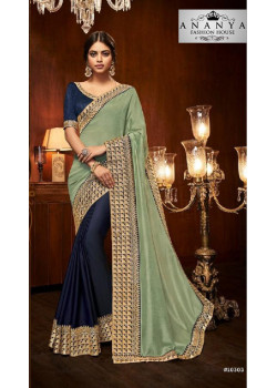 Divine Dark Blue- Pastel Green Silk Saree with Dark Blue Blouse