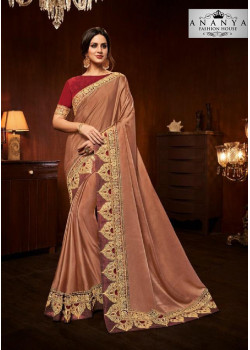 Incredible Rust Silk Saree with Maroon Blouse
