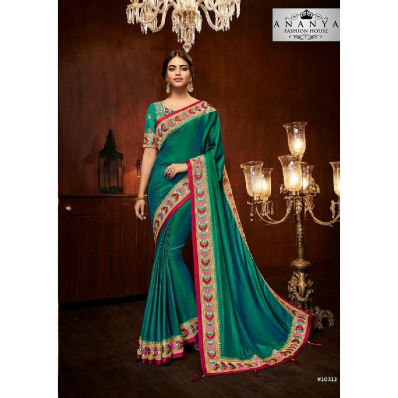 Adorable Rama Green Silk Saree with Sea Green Blouse