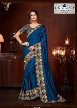 Luscious Blue Silk Saree with Dark Grey Blouse