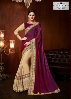 Trendy Beige- Violet Silk Saree with Violet Blouse