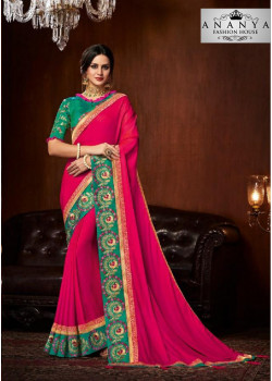 Charming Magenta Silk Saree with Rama Green Blouse