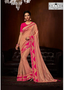 Charming Pink Silk Saree with Magenta Blouse
