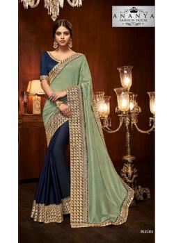 Divine Dark Blue- Pastel Green Silk Saree with Dark Blue Blouse