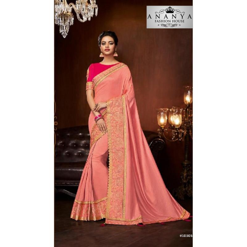 Exotic Pink Silk Saree with Magenta Blouse