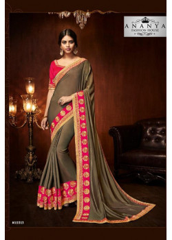 Flamboyant Copper Silk Saree with Magenta Blouse