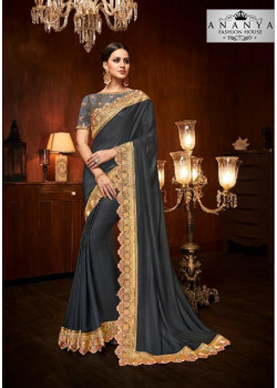 Magnificient Dark Grey Silk Saree with Dark Grey Blouse