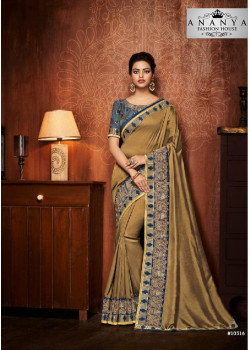 Melodic Blue- Gold Silk Saree with Blue Blouse