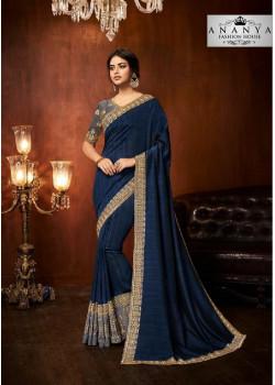 Melodic Blue Silk Saree with Dark Grey Blouse