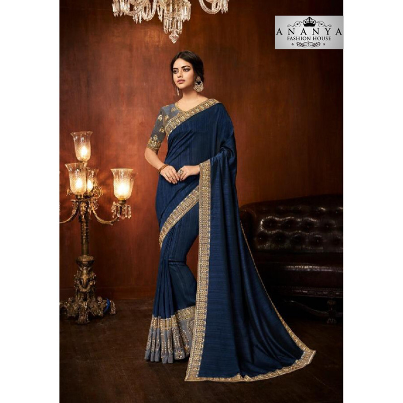 Melodic Blue Silk Saree with Dark Grey Blouse