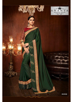 Plushy Bottle Green Silk Saree with Red Blouse