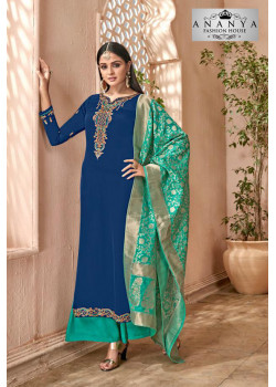 Adorable Blue Georgette- Satin Salwar kameez