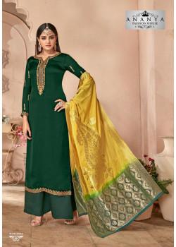 Plushy Bottle Green Georgette- Satin Salwar kameez