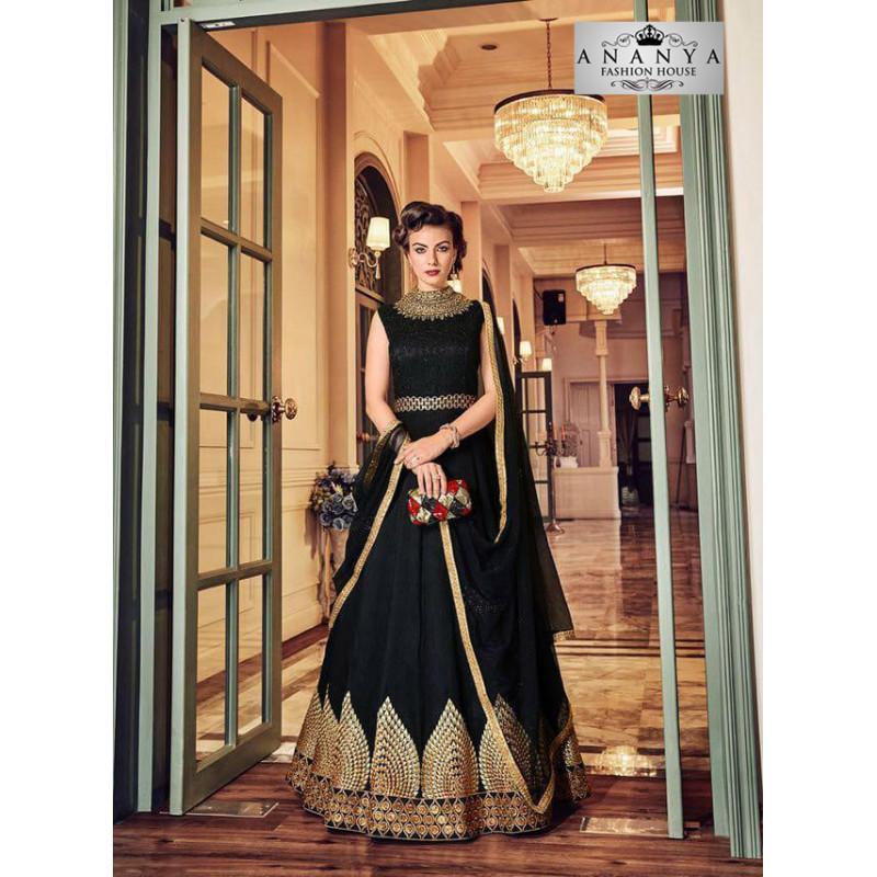 Flamboyant Black Banglori Silk Salwar kameez
