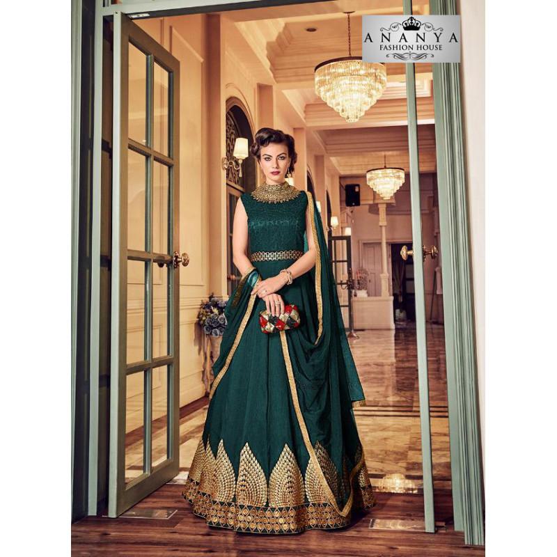 Trendy Dark Green Banglori Silk Salwar kameez
