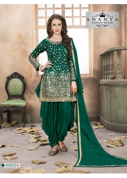Gorgeous Bottle Green Taffeta Silk Salwar kameez
