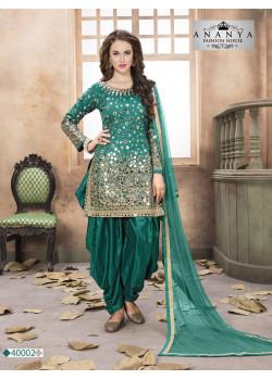Charming Turquoise Taffeta Silk Salwar kameez