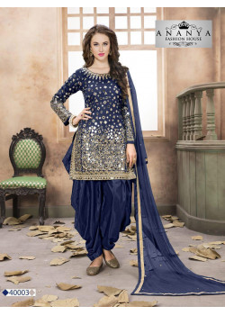 Dazzling Dark Blue Taffeta Silk Salwar kameez