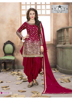 Incredible Red Taffeta Silk Salwar kameez