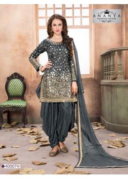 Magnificient Grey Taffeta Silk Salwar kameez