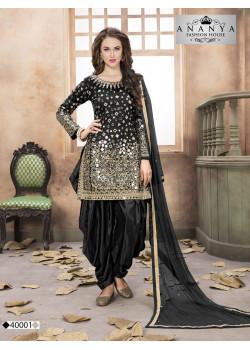 Melodic Black Taffeta Silk Salwar kameez