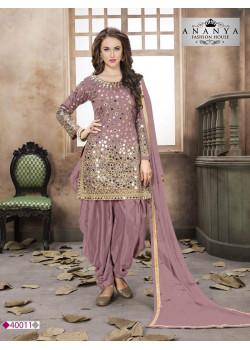 Plushy Pink Taffeta Silk Salwar kameez