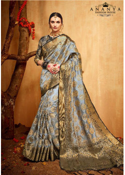 Classic Grey Silk Saree with Grey Blouse