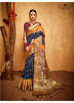 Melodic Multicolor Silk Saree with Brown Blouse
