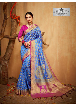 Adorable Blue Silk Saree with Magenta   Blouse