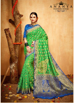 Enigmatic Green- Blue Silk Saree with Blue Blouse