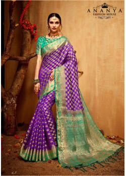Flamboyant Purple   Silk Saree with Sea Green Blouse