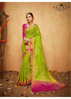 Incredible Green Silk Saree with Magenta Blouse