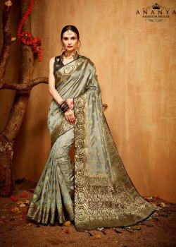 Luscious Grey Silk Saree with Black Blouse