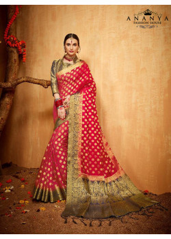 Melodic Maroon Silk Saree with Gold Blouse