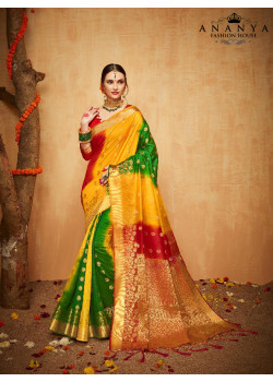 Plushy Multicolor Silk Saree with Red Blouse