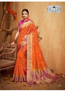 Trendy Orange Silk Saree with Magenta Blouse