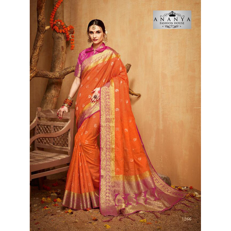 Trendy Orange Silk Saree with Magenta Blouse