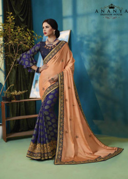 Divine Peach- Dark Blue Silk Georgette- Jacquard Silk Saree with Dark Blue Blouse