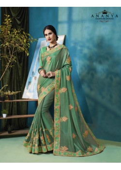 Gorgeous Sea Green Silk Georgette Saree with Sea Green Blouse