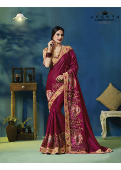 Melodic Wine Silk Georgette Saree with Gold Blouse