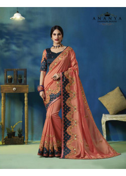 Adorable Pink Silk Saree with Blue Blouse
