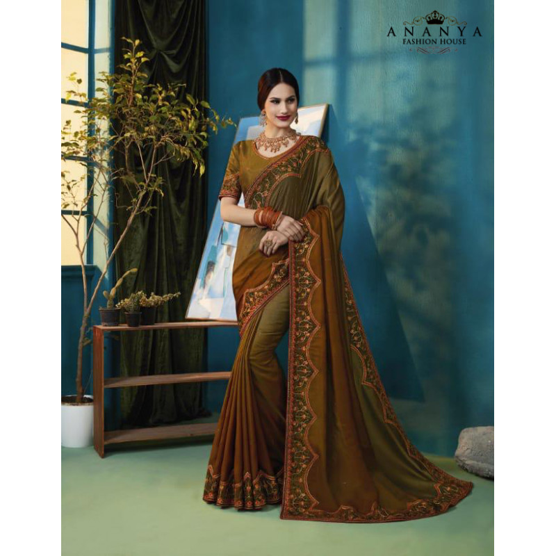 Dazzling Olive Green Silk Saree with Olive Green Blouse