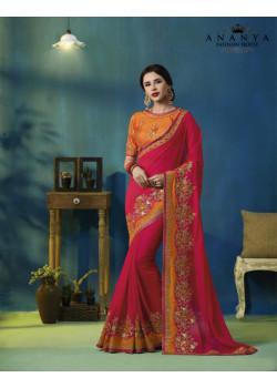 Enigmatic Pink- Orange Silk Georgette Saree with Orange Blouse
