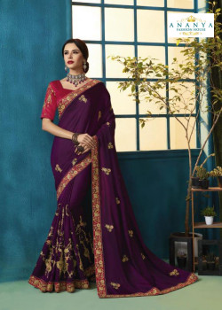 Exotic Violet Silk Georgette Saree with Magenta Blouse