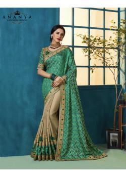 Incredible Sea Green- Beige Silk Georgette- Jacquard Silk Saree with Beige- Sea Green Blouse