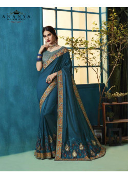 Plushy Blue Silk Georgette Saree with Blue Blouse