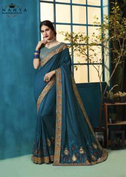 Plushy Blue Silk Georgette Saree with Blue Blouse